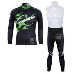 Wholesale Merida Hot - hot sale merida men winter fleece cycling Jersey sets with long sleeve bike top & (bib) pants in cycling clothing, bicycle wear
