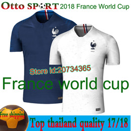 Wholesale France T Shirt - 2018 France World Cup jerseys POGBA GRIEZMANN PAYET KANTE Mbappe Football t shirts 18 19 France National Team home away Soccer Jerseys