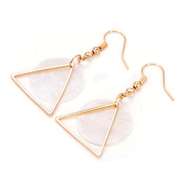Wholesale Korean Handmade Earrings - Simple Geometric Shell Earrings Korean Style Fashion Ladies Non Pierced Ear Clip Earrings All-match Handmade Jewelry
