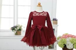 Wholesale Wholesale Long Black Dress - Wholesale 2015 Girl Lace Dress Bowknot Long Sleeve Princess Dress 2-6Y 30978