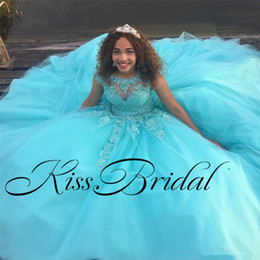 Wholesale Key Hole Formal Dresses - Sky Blue 2018 Quinceanera Dresses Lace Crystal Formal Girls Dresses With Lace Key Hole Back Floor Length Tulle Cheap Pageant Gownswns