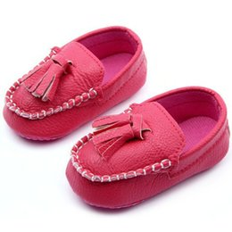 Wholesale Leather Loafers Toddlers - Baby Toddler Girls Boys Loafers Soft Faux Leather Flat Slip-on Crib Shoes 0-12M Free Shipping