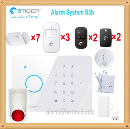 Wholesale Gsm S3 - Etiger S3 home security system gsm with smoke detector gas leakage detector water flood alarm sensor