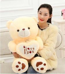 Wholesale Soft Toys Heart - 50cm 70cm Stuffed Plush Toy Holding I Love You Heart Big Plush Teddy Bear Soft Gift for Valentine Day Birthday Girls