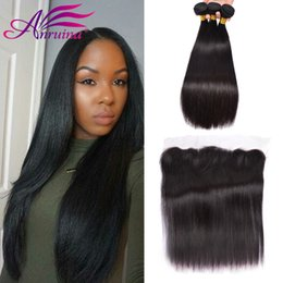 Wholesale Cheap Weave Closures - Peruvian Straight Hair Weaves 3pcs lot with ear to ear lace frontal 13x4 closure Cheap Human Hair Bundles Natural Black Color