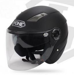 Wholesale Yohe L Size Helmet - YOHE dual lens winter half face motorcycle helmet Eternal electric bicycle helmet motorbike helmet YH837A SIZE M L XL XXL 7 colors