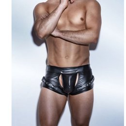 Wholesale male erotic - New Erotic Men's Leather Shorts Lingerie Sexy Boxers Black Faux Leather PU Shorts For Male Underwear Underpants X6723