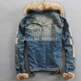 Wholesale Vintage Wool Coat Fur Collar - Fall-S-XXXL 2015 New Men Jeans Jacket Winter Casual Brand Denim Vintage Jacket With Fur Collar Wool Thick Outwear Coat Cotton Hooded