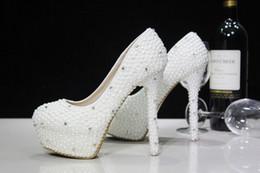 Canada Nouvelles chaussures de mariée! Ivoire belle Vogue Cristaux et perle talons hauts chaussures de mariée de mariage 14 CM supplier ivory high heels shoes Offre