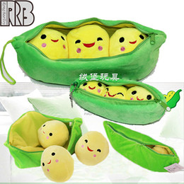Wholesale Pea Bag Baby - Wholesale-Creative peas pillow sweet pea plush toys baby the doll high quality pp cotton and Independent pp bag packaging free shipping