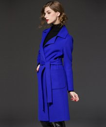 Wholesale Slim Large Lapel Coat - 2016 high quality large size women Slim woolen coat woolen winter coat Girls long paragraph 3 colors 5 yards Free Shipping Fast Shipping