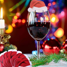 Wholesale Leaf Ornaments - Christmas Wine Glass Insert Card Table Place Paperboard Red Santa Clause Hats Snowman Leaf Party Champagne Tipple Cup Decoration XL-366