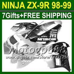 Wholesale 98 Zx9 Fairing Kits - 7gifts Body For KAWASAKI ZX9R Silver black NINJA ZX-9R 1998-1999 ZX 9R P16155 ZX9 R Silvery blk Free shipping+ 98 99 1998 1999 Fairing Kit