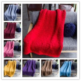 Wholesale Christmas Crochet Photography Prop - 20 Colors 60*60cm Photography Props Blanket Knitted Handmade Weaving Crochet Linen Woolen Blankets Christmas Gifts