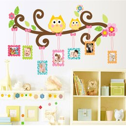 Wholesale Pictures Kids Bedrooms - Mascot Owl Picture Frame Wall Decal Stickers Colorful Owls photo frame Wall Art Murals for Kids Room Nursery
