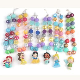 Wholesale New Sets For Girls - 6pcs set New Arrival Hot Sale Chunky Bubblegum Beads with People in Fairy Tales Pendant Necklace for Girls Kids