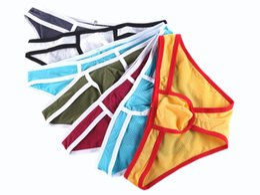 Wholesale Young Hot Panties - Wangjiang Men Sexy Briefs Men Panties Short Pants Fashion Young Hot Type Nylon Low Waist Mesh Men Bottom Underwear
