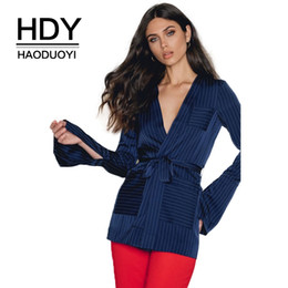 Wholesale Elegant Lace Blouses For Ladies - HDY Haoduoyi Deep V-Neck Solid Blue Women Sexy Casual Shirts Lace Up Waist Split Side Pockets Female Blouses Elegant For OL Lady q1109