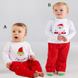 Wholesale Cotton Red Pajamas For Kids - can choose size 2015 New Arrivals Baby Boys White Tops T-Shirt + Red Pants Pajamas Holiday Outfit Sets For Kids Christmas Clothes BY000