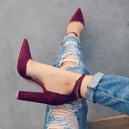 Wholesale Black Thick High Heel Pumps - 6 Colors Pointed Strappy Pumps Sexy Retro High Thick Heels Shoes 2107 New Woman Shoes Female Lace Up Shoes size 34-43
