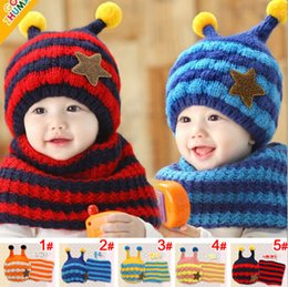 Wholesale Baby Bee Hat - Wholesale-2015 Fashion Bees style striped boys Knitted hats winter 2 pcs baby girl scarf hat fur set Age for 8 months-4 Years Old