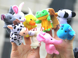 Wholesale Baby Nursery Toys - Free shipping kid toy children Plush Toys Soft Velvet Animal Farm Finger Puppets Set Baby Nursery Rhyme Stories Helper Plush Toys