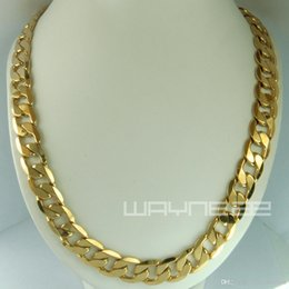 Wholesale Solid Brass Rings - 18k yellow gold Filled mens solid chain Necklace ring link chrismas gift N231
