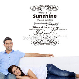 Wholesale Wall Vinyl Love - You are my sunshine I Love you warmly bedroom sticker 3d removable vinly wall decals 57*69cm ZYVA-8258