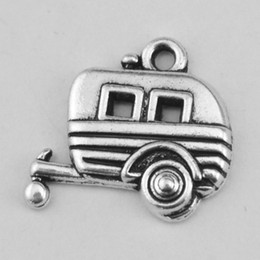 Wholesale Cars Slide - Wholesale 50pcs a lot Jewelry Antique Plated Silver Camping Trailer Car Pendant Charms Fits Bracelets Created Beautiful Creative Bracelets