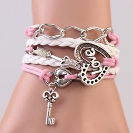 Wholesale Couples Lock Key Bracelet - New handmade bracelet lock+key +Cupid's Arrow Charms Infinity Bracelet white&pink leather Braclet. Best Couple Gift IB710
