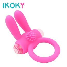 Wholesale Rabbit Vibrator Ring - IKOKY Cock Penis Ring Vibrator Delay Ejaculation Rabbit Adult Products Silicone Member Sex Toys for Men Penis Vibrating cockring