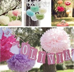 Wholesale Wholesale Tissue Paper Cheap - 35 Colors Cheap Tissue Paper Pom Flowers 100pcs Wedding Party Decorations Tissue Paper Flower Ball 10cm - 50cm Blooms Flower Balls