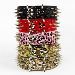 Wholesale Spiked Collars For Big Dogs - Wholesale Pet Products 100% Guarantee Spiked Studded PU Leather Dog Collar For big Dogs PitBull Mastiff Bulldog Golden retriever