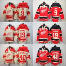 Jersey de la sudadera con capucha del hockey de detroit online-Sudadera con capucha para hombre de Detroit Red Wings 19 Steve Yzerman 40 Henrik Zetterber 9 Gordie Howe Sudadera con capucha de Hockey sobre hielo Old Time Hockey sudadera S-3XL