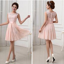 Wholesale Lace Bride Bridesmaids - New Vestidos de Fiesta Pink White Chiffon Short Formal Prom Gowns Back Lace Evening Dress Elegant Bridesmaid Dress Brides Maid Dress