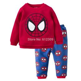 Wholesale Pijamas Boys - Wholesale-Fashion New 2015 Winter Red Spiderman Cartoon fleece pajamas,Kids Pijamas,Boys Funny Pajamas,Spider-Man Sleepwear Pyjamas