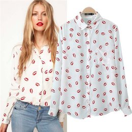 Wholesale European Women Blouses - European Style Women Fashion Red Lip Printed Long Sleeve Blouse Ladies Casual Slim Plus Size Chiffon Shirts Women Clothes ZY592