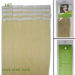Wholesale Cheap Taped Hair Extensions - Cheap 16 inch 20pc Women Silky Straight Tape in Remy Human Hair Extensions #60 White Blonde