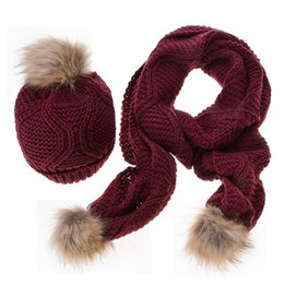 Wholesale Thick Knit Scarf Sets - Women Winter Hat and Scarf Set Warm Chunky Thick Stretchy Knit Beanie Pom Pom Hat Scarf For Girls High Quality