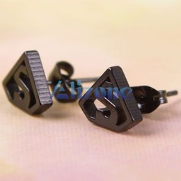 Wholesale Earring Superman - Black Silvery Stainless Steel Superman Symbol Men's Earring Ear Studs Punk #44097