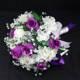 Wholesale Bridal Throw - Wedding Bridal holding flowers Fashion Charming handmade silk Wedding Supplies Rose Bouquet Wedding Accessories Bridal throwing Hydrangea
