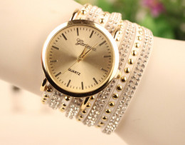 Wholesale Hand Woven Belts - 2015 Fashion Women velvet Leather Watch Hand-woven Crystal bracelet watches For women Quartz Wristwatch Dress watch 10 Colors