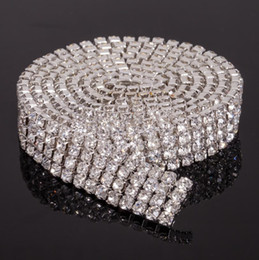 Wholesale Rhinestones Ss16 - MIC Hot sell 4-row Crystal Rhinestone Trims Close Chain Silver ss16 x1 yard Jewelry Findings & Components