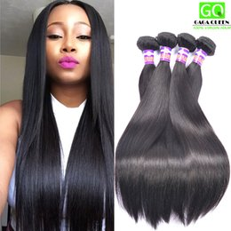 Wholesale free black hair products - Queen Hair Products Brazilian Straight Virgin Hair Weft 3 bundles Lot 100% Unprocessed Human Hair Weave Natural Black Fast Free Shipping