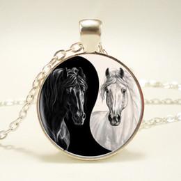 Wholesale Yin Yang Wholesale - 12pcs lot Yin Yang Horse Logo 2Styles Silver Pendant Necklace Long Chian Statement Handmade Necklace For Women