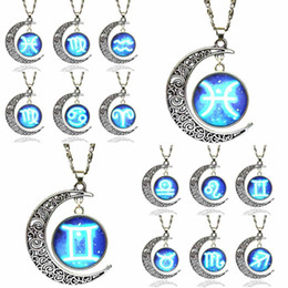 Wholesale Sign Accessories - Necklaces Pendants 12 Signs Constellation Blue Moon Pendant Space Necklace Men Women Jewelry Accessories Long Chains Charms Necklaces