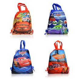 Wholesale Drawstring Canvas Backpack - Cars Cartoon Non-woven Children Drawstring Backpacks Kids School Bags with Handle 34*27cm tote bags Children Christmas gifts