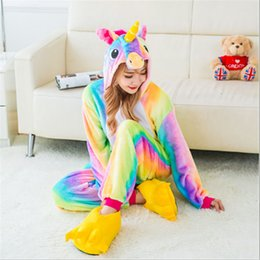 Wholesale Woman S Christmas Pajamas - Cute Cartoon Animal Colored Unicorn Pajamas Flannel Hooded Long Sleeve Adult Unicorn Pajamas Sleepwear For Women
