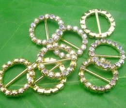 fibbie a nastro per inviti di nozze Sconti Hot 50pcs rotondi di strass di cristallo oro fibbie inviti di nozze 20mm