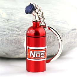 Wholesale Stainless Steel Round Carabiner - Free Shipping Red Mini Nitrous Oxide Bottle Emergency Pill Storage Key Chains Zinc Alloy Nos Keychain Creative Gift